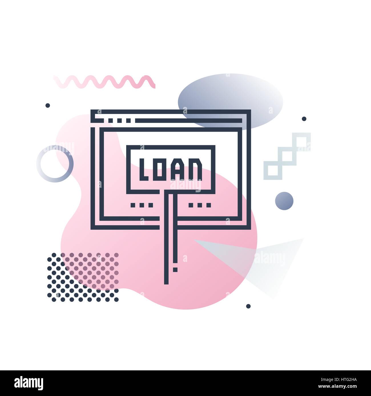 Service de prêt en ligne, site internet de l'aide financière. Abstract illustration concept. Banque D'Images