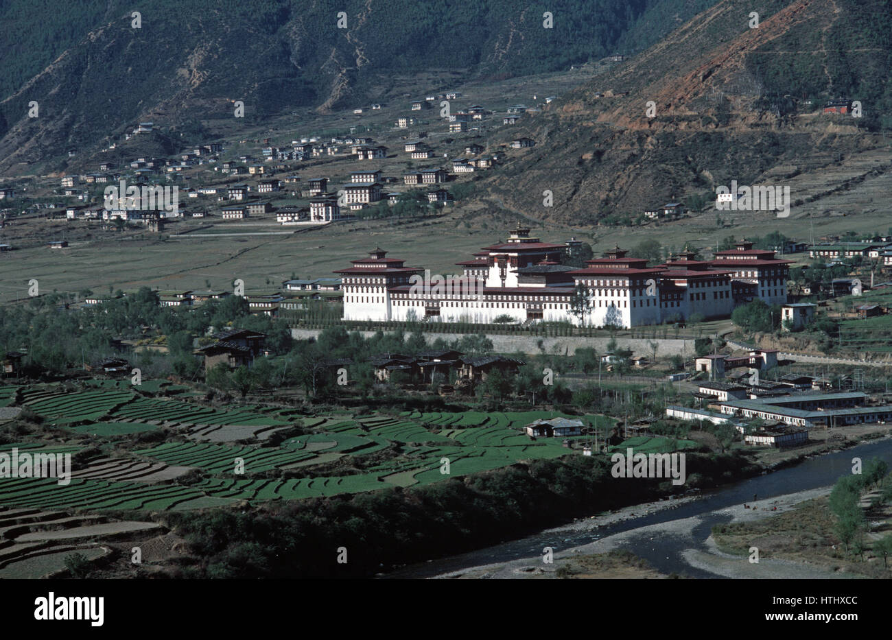 Tashichhodzong, monastère bouddhiste et siège du gouvernement, Thimphu, Bhoutan, Himalaya Photo Stock