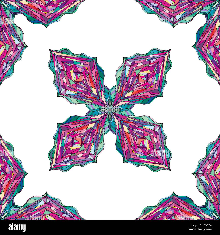 Ornement motif dessiné à la main. Remplages géométriques vecteur seamless background. Abstract colorful rhombus Illustration de Vecteur