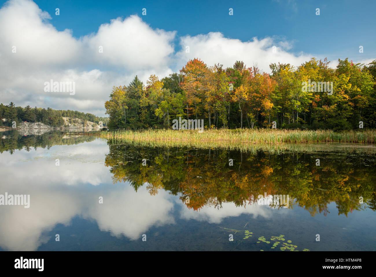 Couleurs d'automne sur Charlton Lake, Ontario, Canada Banque D'Images