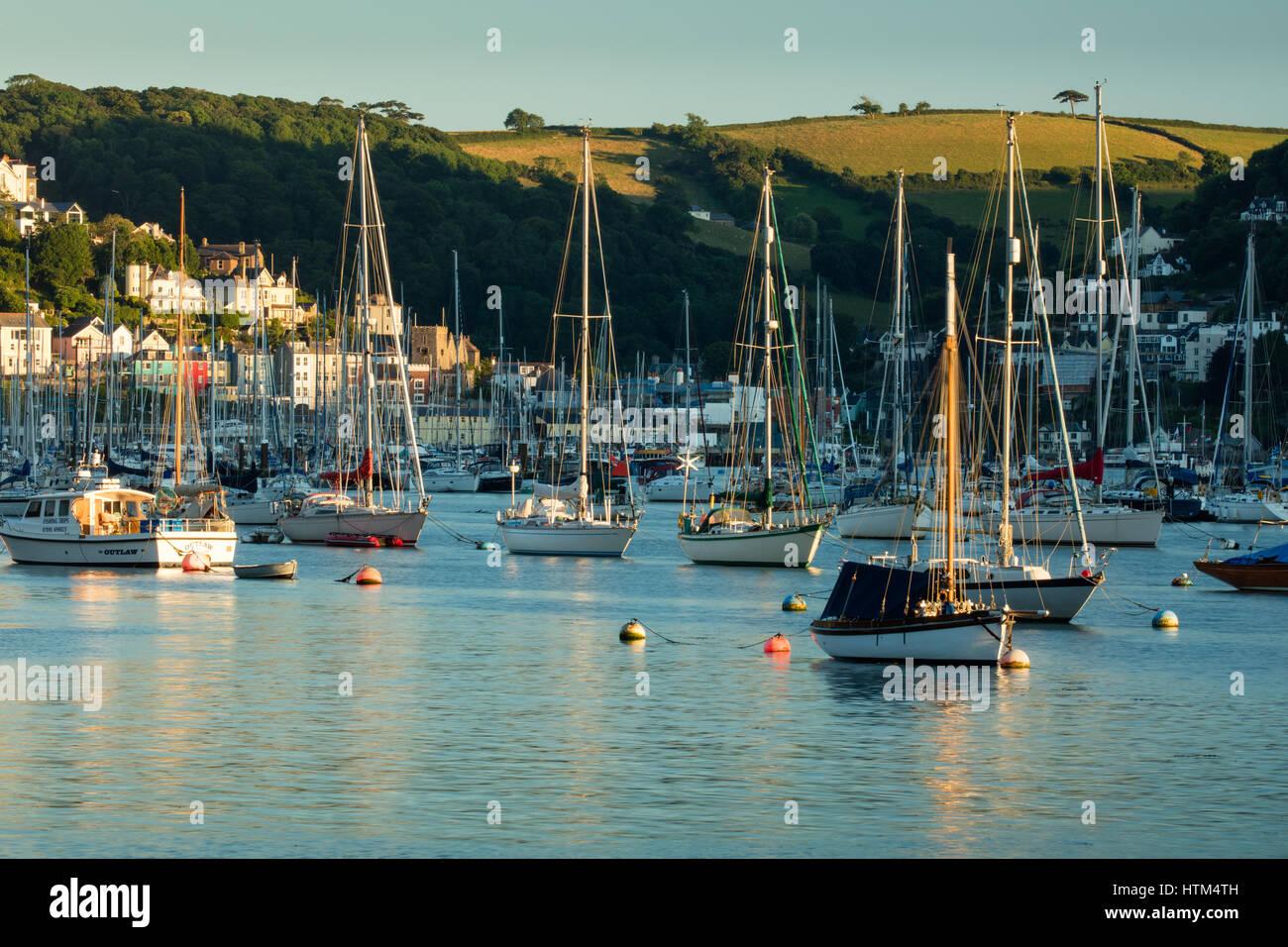 Bateaux ancrés dans la rivière Dart à Kingswear, Devon, England, UK Banque D'Images