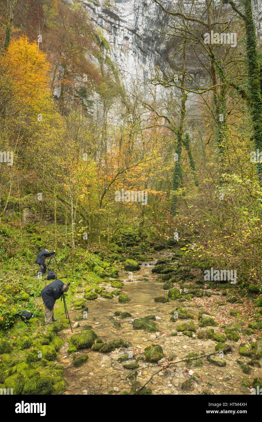 Couleurs d'automne, Bief du Sarrazin, Gorges du Lison, Nans-Sous-Sainte-Anne, Franche-Comté, France Banque D'Images