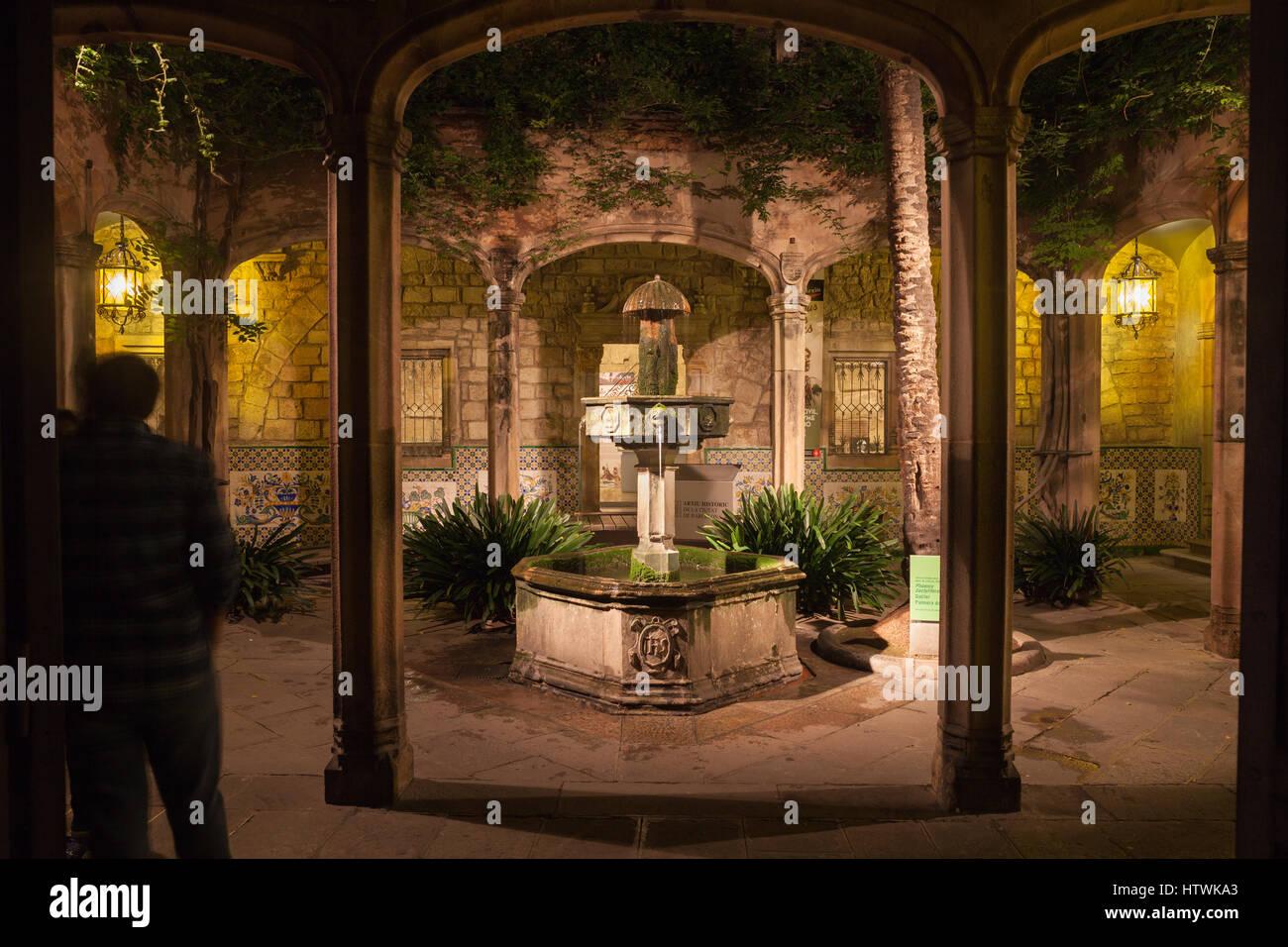 espagne barcelone cour et fontaine de casa de l 39 ardiaca. Black Bedroom Furniture Sets. Home Design Ideas
