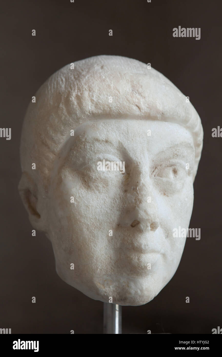 Tête d'une statue d'un homme, probablement l'Est de l'empereur romain Arcadius (395-408 AD) Photo Stock