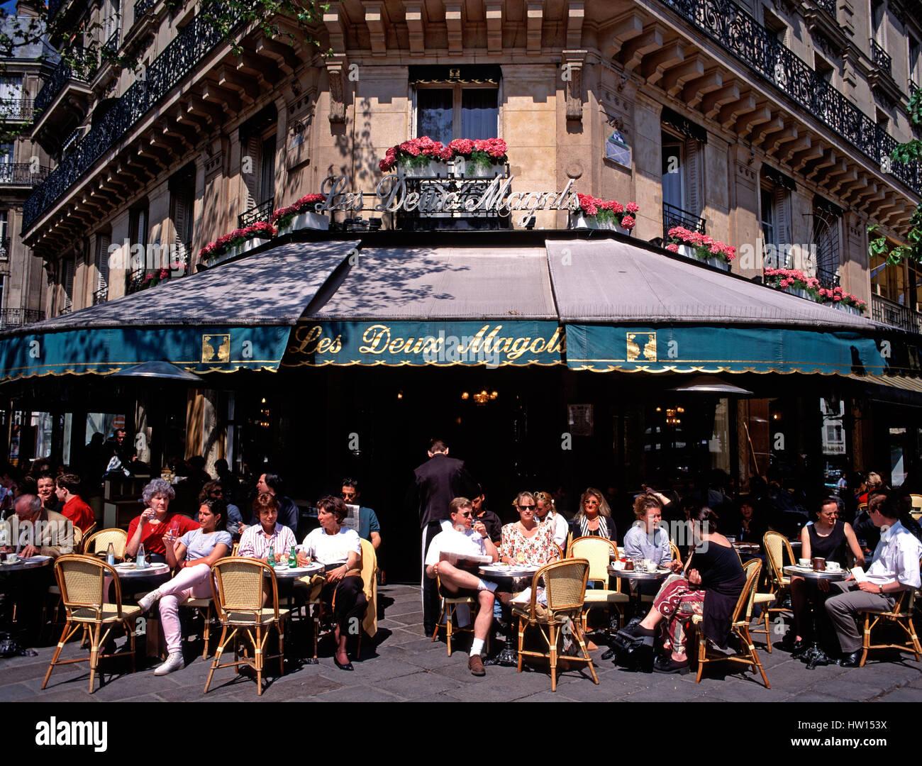 Les Deux Magots, le café de la chaussée, Paris, France Photo Stock