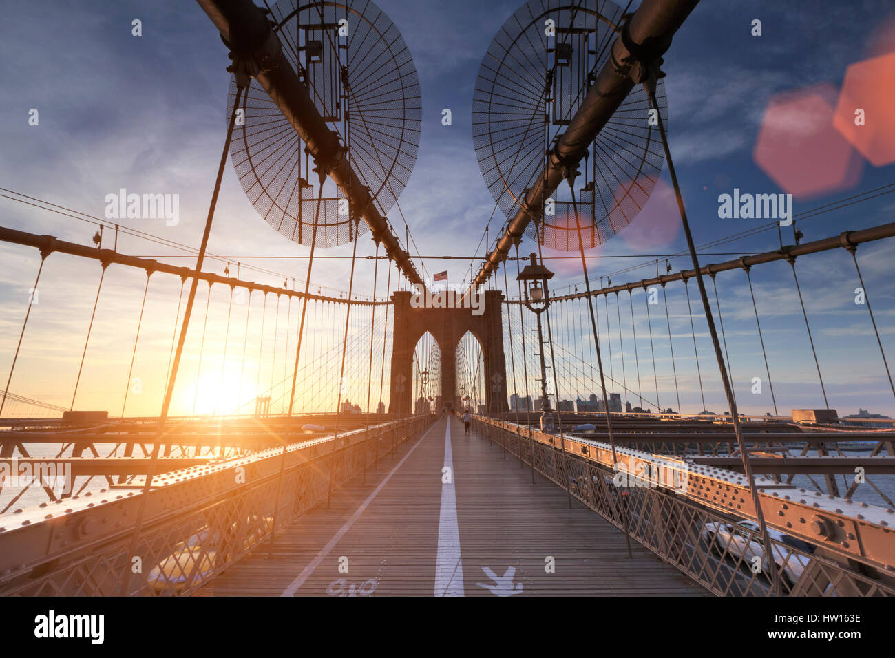 USA, New York, New York City, Brooklyn Bridge Photo Stock