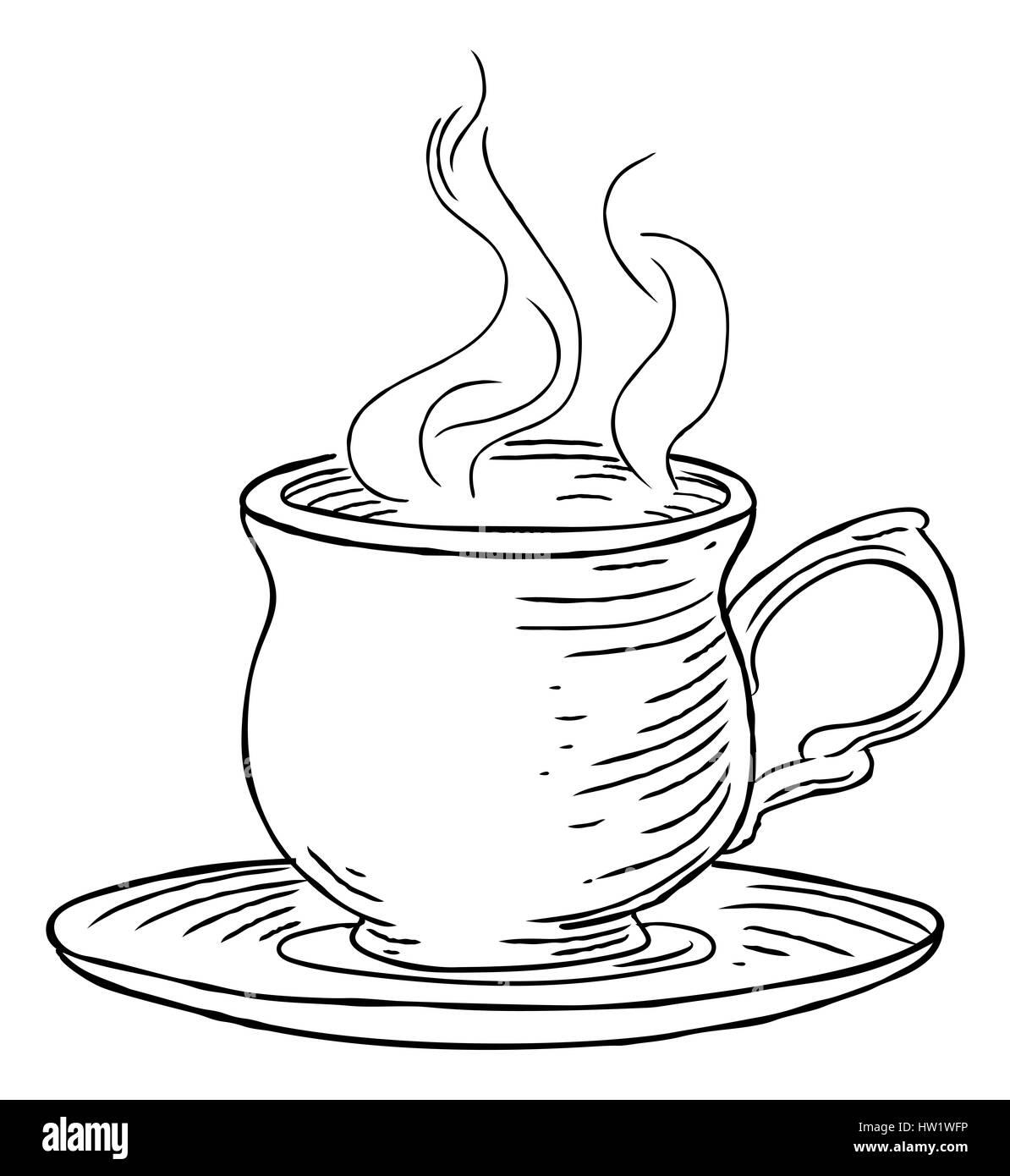 Dessin Tasse De Café Fumant une tasse fumante de thé ou café et soucoupe part dessiner dans un