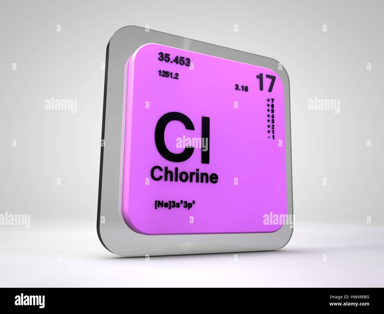 Chlore Cl Tableau Periodique Des Elements Chimiques De Rendu 3d Photo Stock Alamy