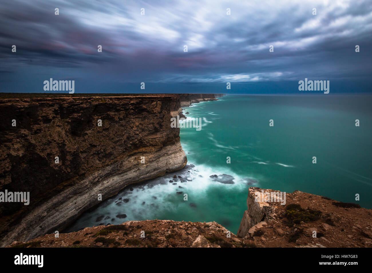 La Grande Baie australienne - Falaises Bunda - Plaines du Nullarbor, Australie du Sud Photo Stock