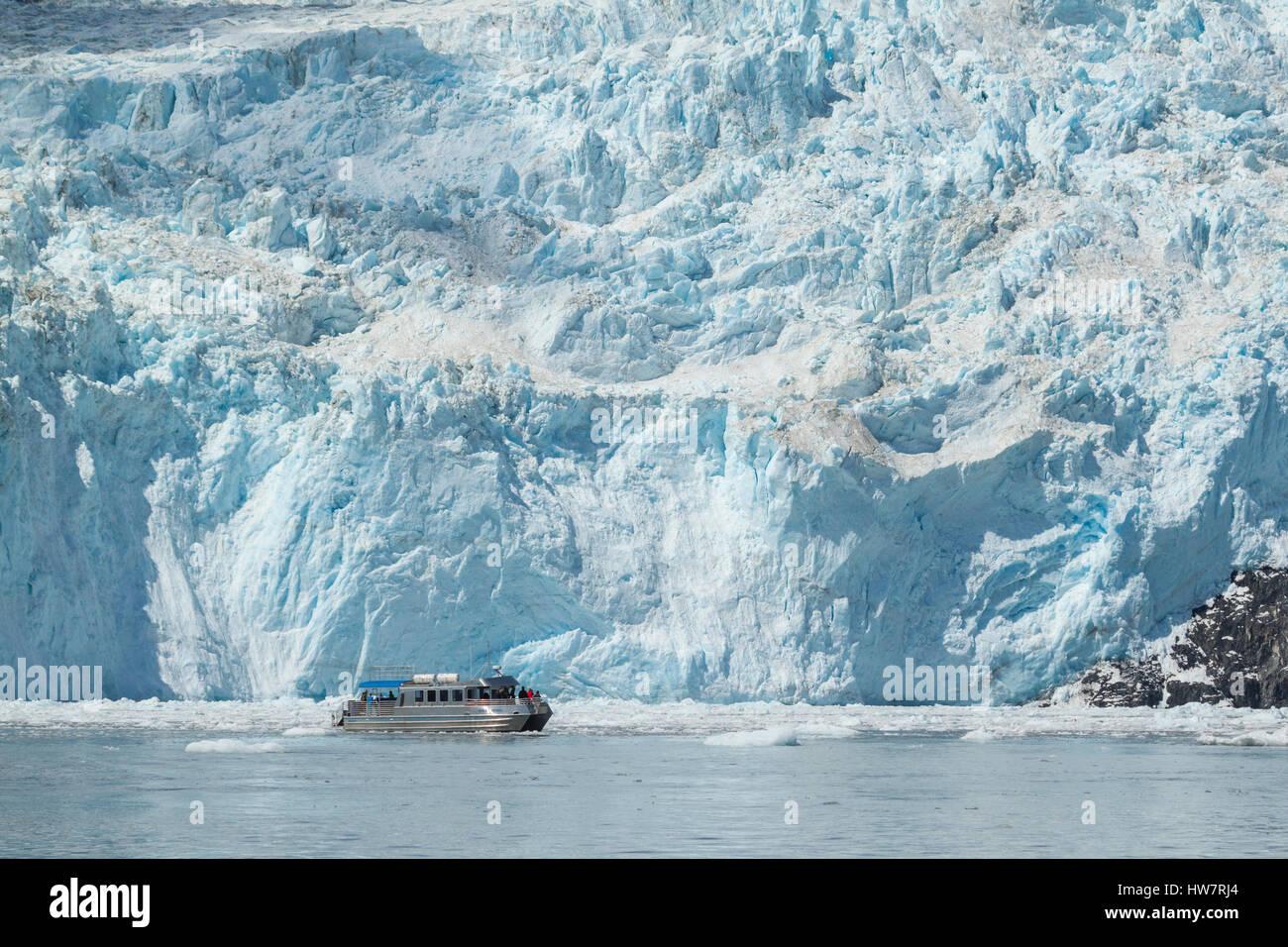 Voile en face de Glacier Aialik, Kenai Fjords National Park, Alaska. Photo Stock