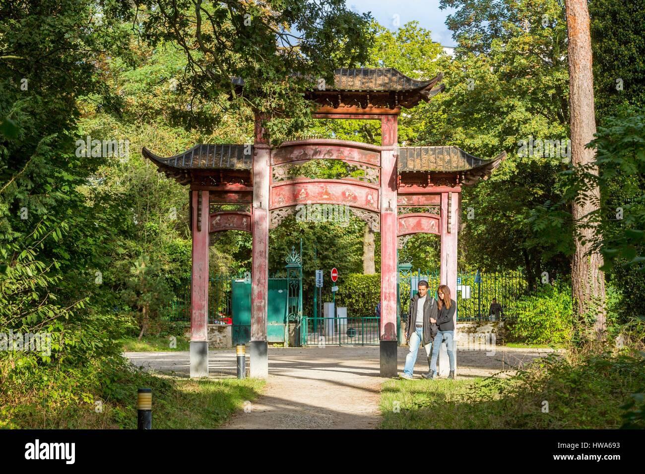 jardin porte de vincennes France, Paris, jardin du0027Agronomie tropicale dans le Bois de Vincennes est  le foyer de la demeure de lu0027exposition coloniale de 1907, la porte de  Chinois