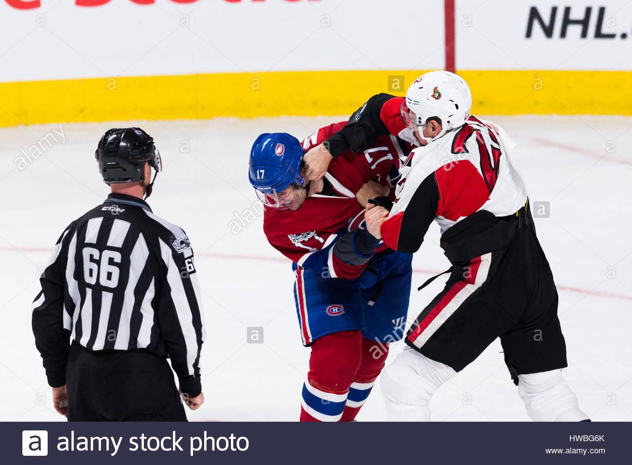Montréal, Québec, Canada. Mar 19, 2017. Sénateurs d'Ottawa Chris Kelly (22) et les Canadiens Photo Stock