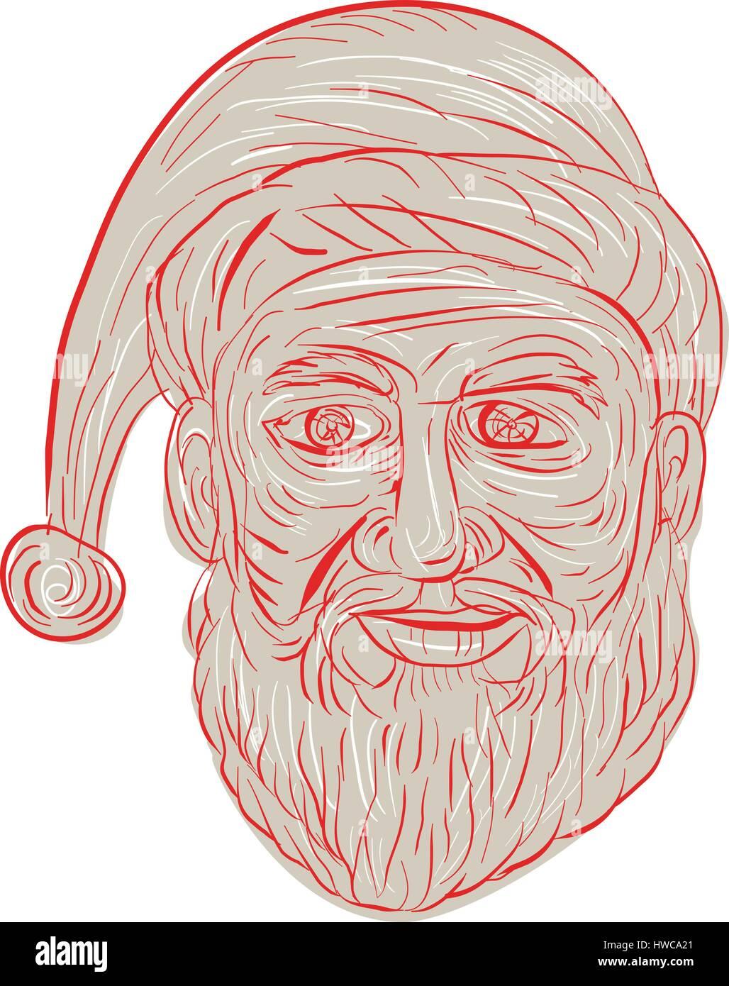 Style croquis dessin illustration d'un Père Noël à la mélancolie triste, sombre et triste Photo Stock