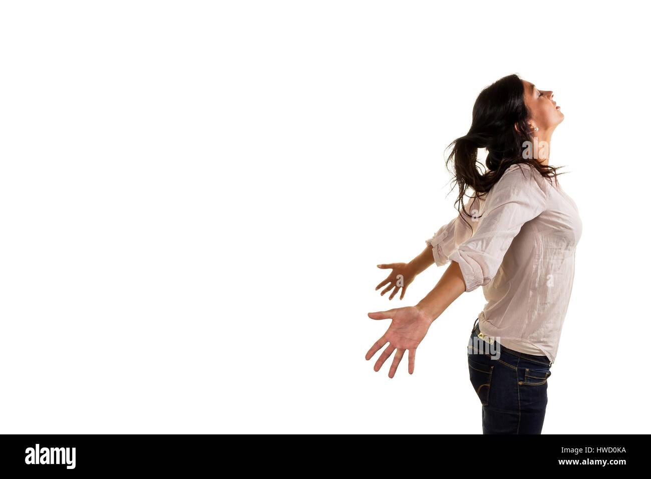 Une jeune femme profondément respire profondément et genius? T sa vie, eine junge Frau atmet tief Photo Stock