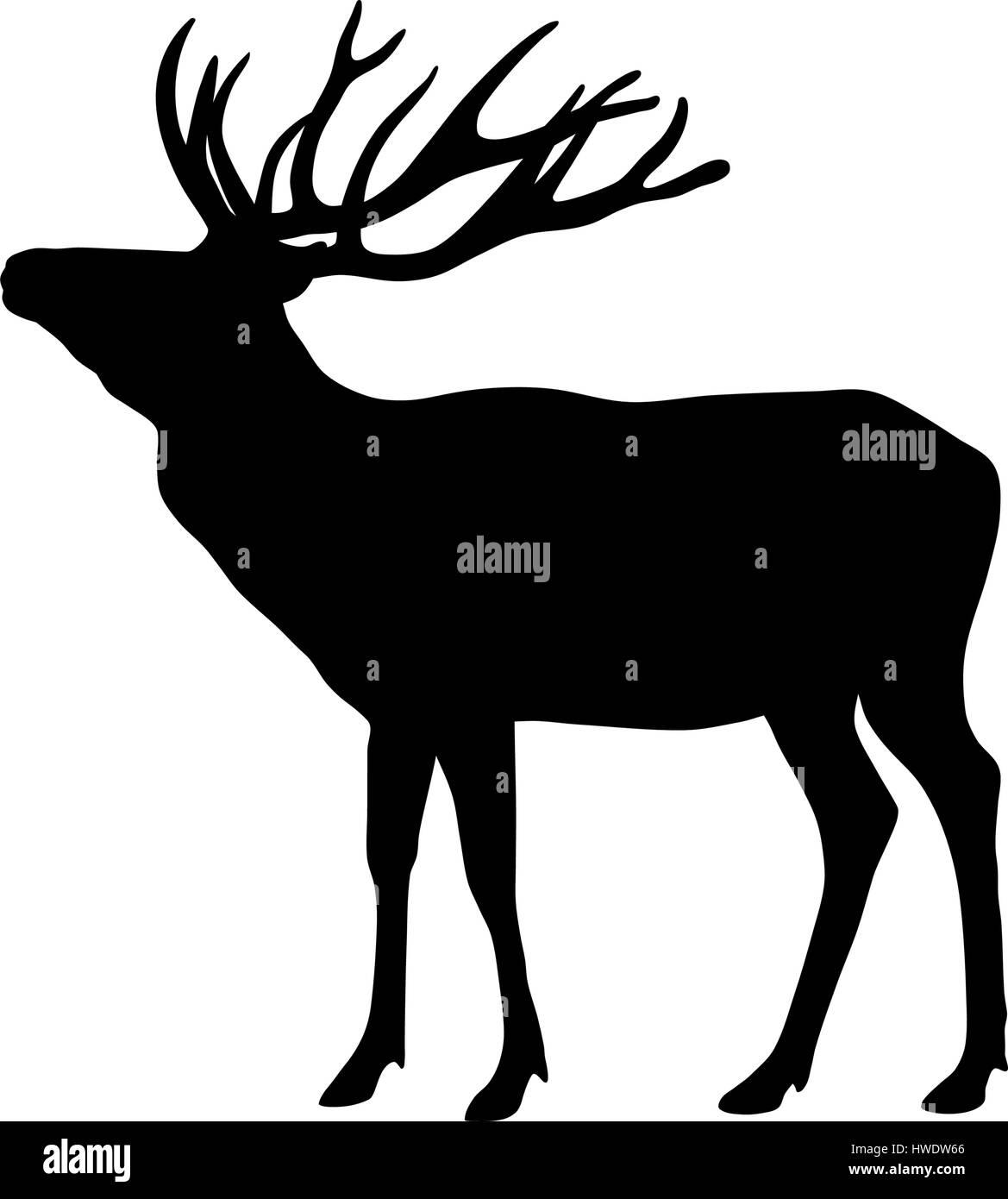 Vector illustration of deer silhouette Photo Stock