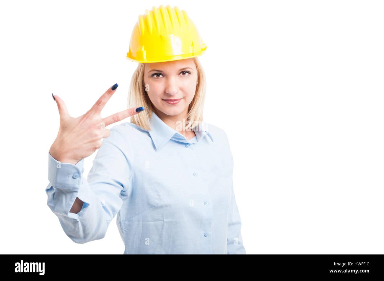 Architecte féminin par nombre trois geste isolé sur fond blanc Photo Stock