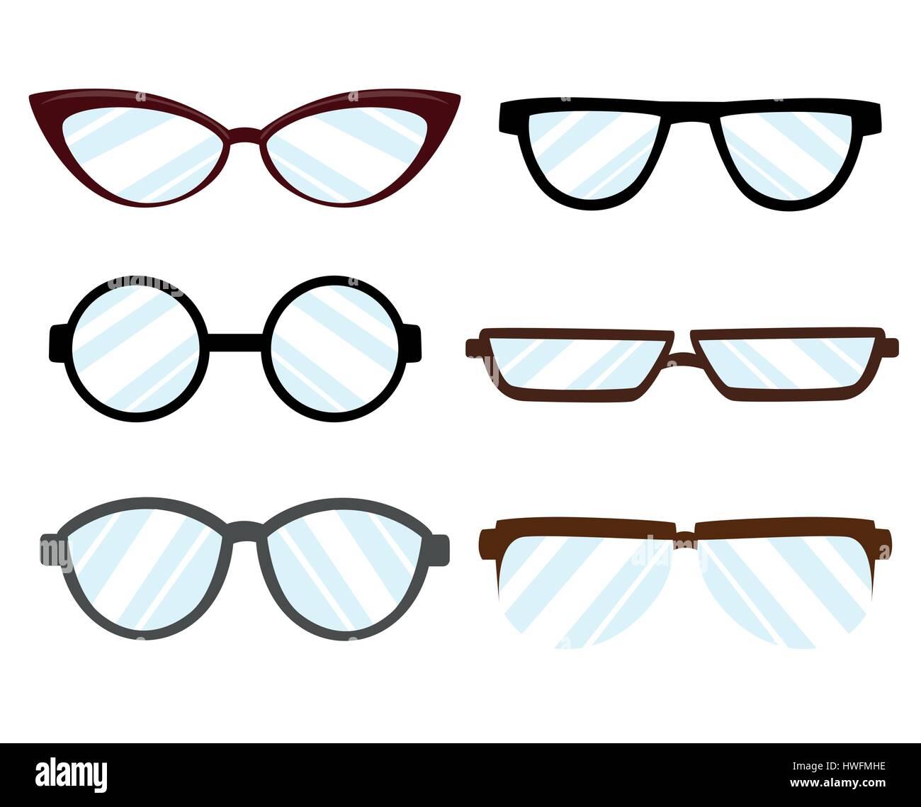Silhouette lunettes style différent - hipster, rétro, vintage, Moderne,  classique. Télévision style design vector illustration 170403b6a5af
