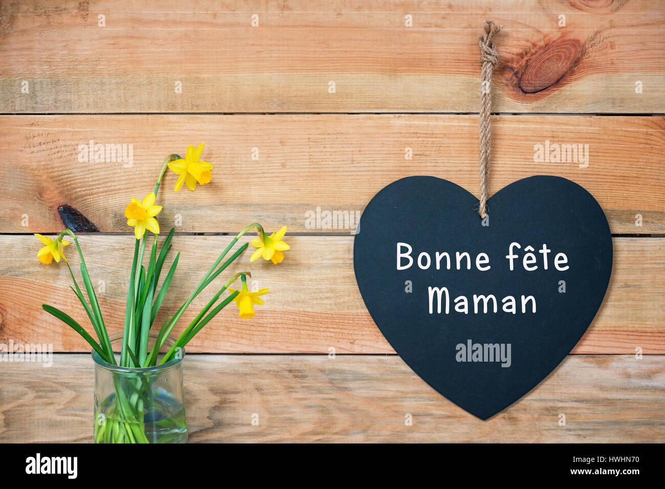 Bonne Fete Maman Fête Des Mères Carte Bois Bandes De Jonquilles