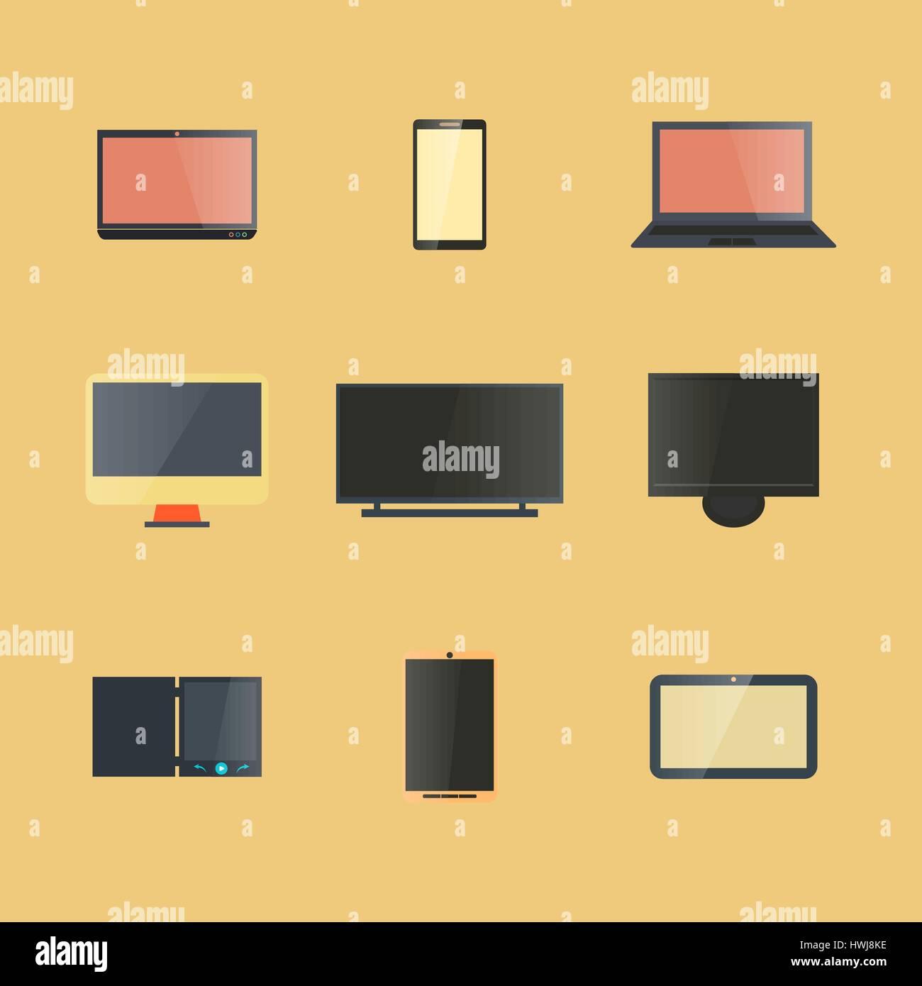 Appareils numériques avec affichage des icônes isolé sur fond jaune, la conception de composants électroniques. Illustration de Vecteur