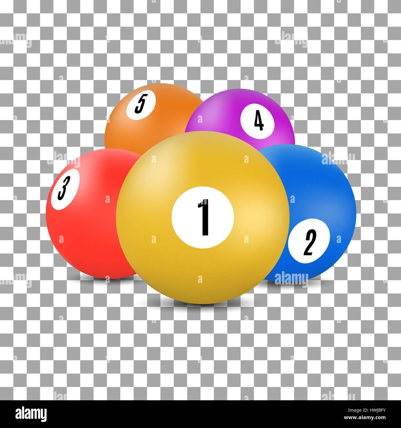 Boules multicolores avec des numéros pour une partie de billard et de billard en 3D, style vector illustration. Illustration de Vecteur