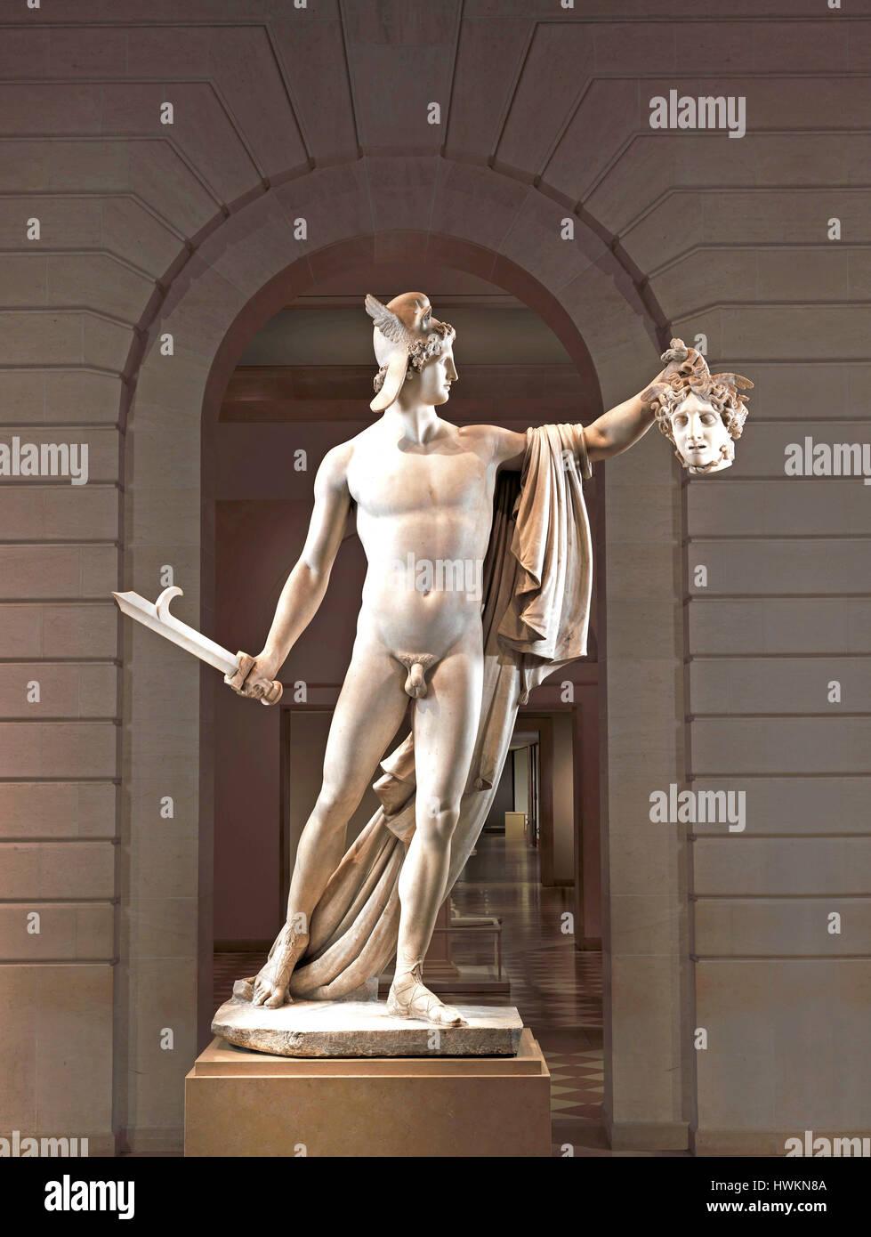Persée avec la tête de Méduse par Antonio Cavona Photo Stock