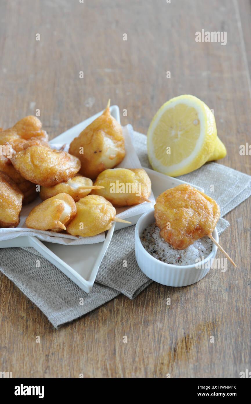 Beignets de crevettes et calamars Banque D'Images