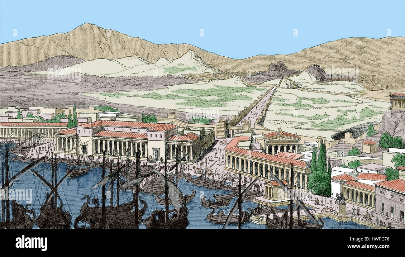 La Grèce antique. Athènes. Port du Pirée. La gravure, la couleur. La Grèce et Rome, 1879. Banque D'Images