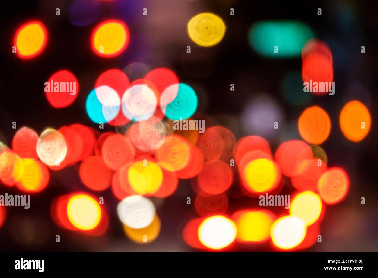 Miami Floride out-of-focus focus blur bokeh feux feux feux arrière rouge effet visuel Photo Stock