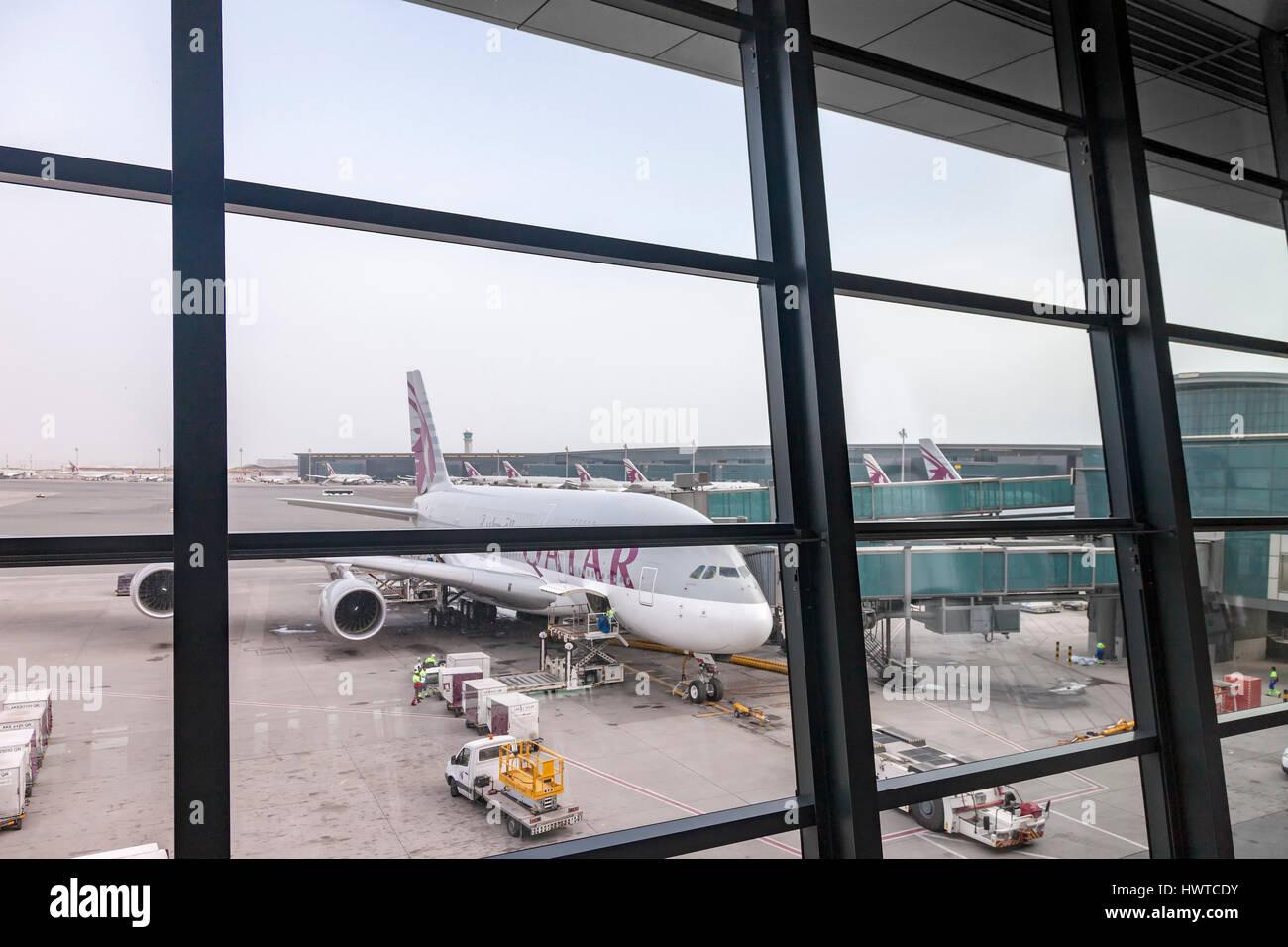 L'Aéroport International de Doha, Hamad. Banque D'Images