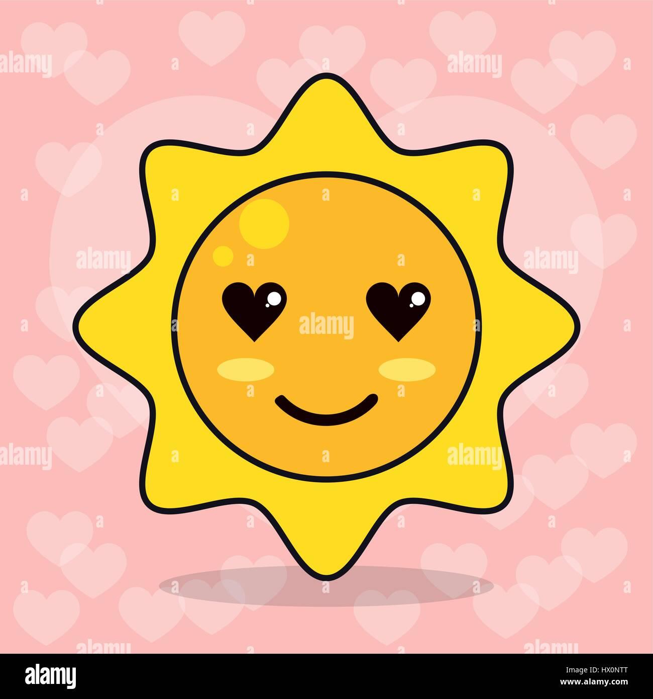 Les Yeux D Amour Soleil Emoticone Image Vectorielle Stock Alamy