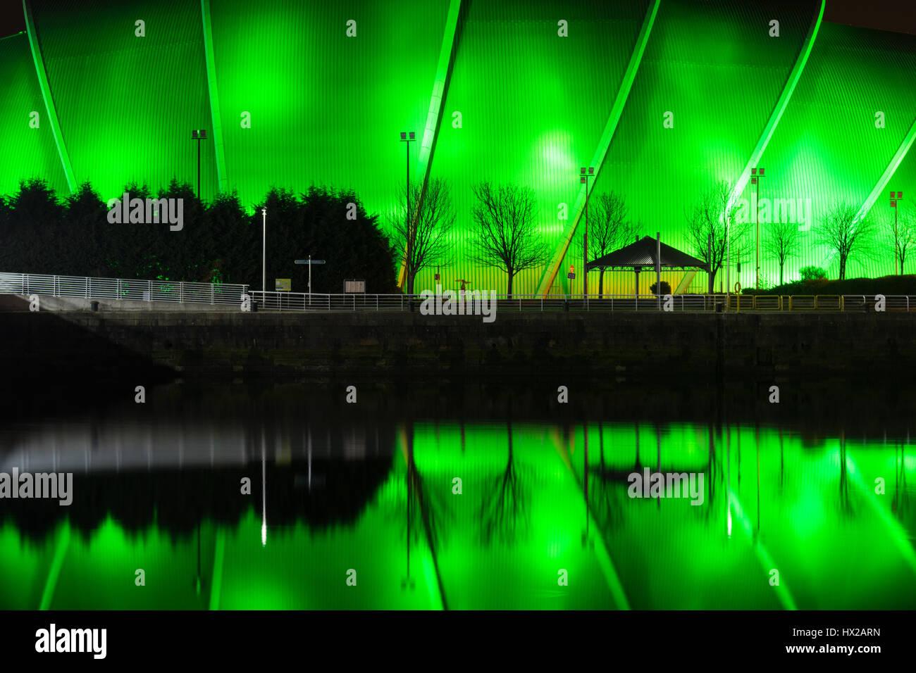 L'Armadillo sec au lieu de musique Campus Événement écossais, Glasgow, Scotland, UK - reflétée Photo Stock