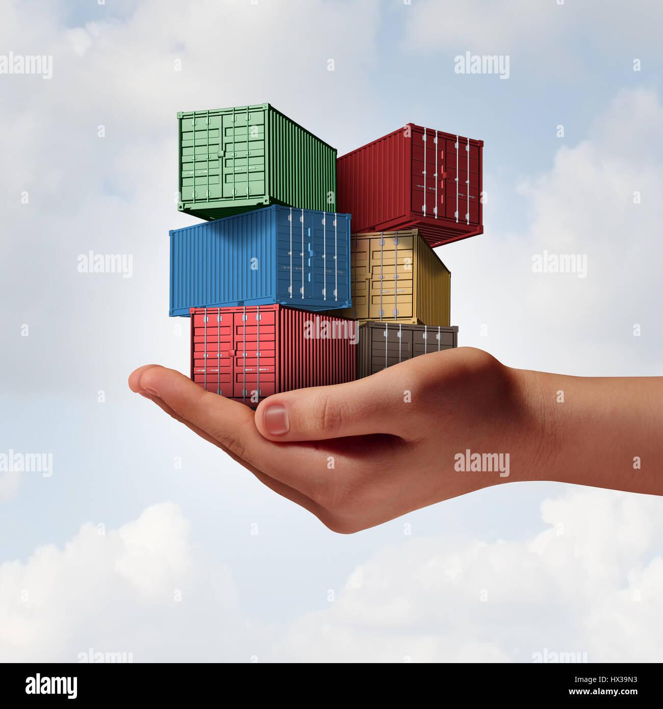 Concept de soutien logistique comme une main tenant un groupe de conteneurs de fret comme transport et logistique Photo Stock