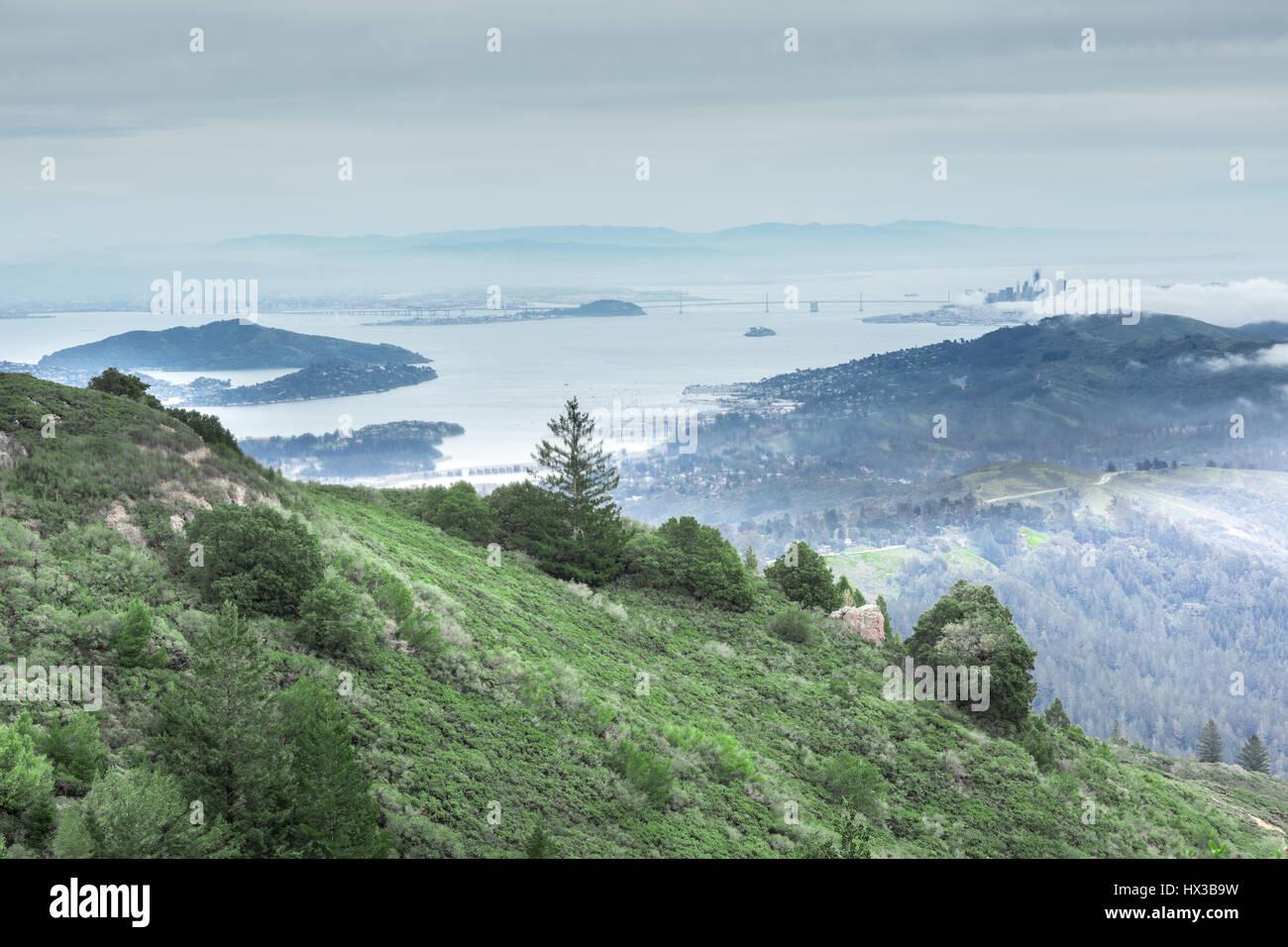 Baie de San Francisco depuis le Mont Tamalpais pic de l'Est Photo Stock