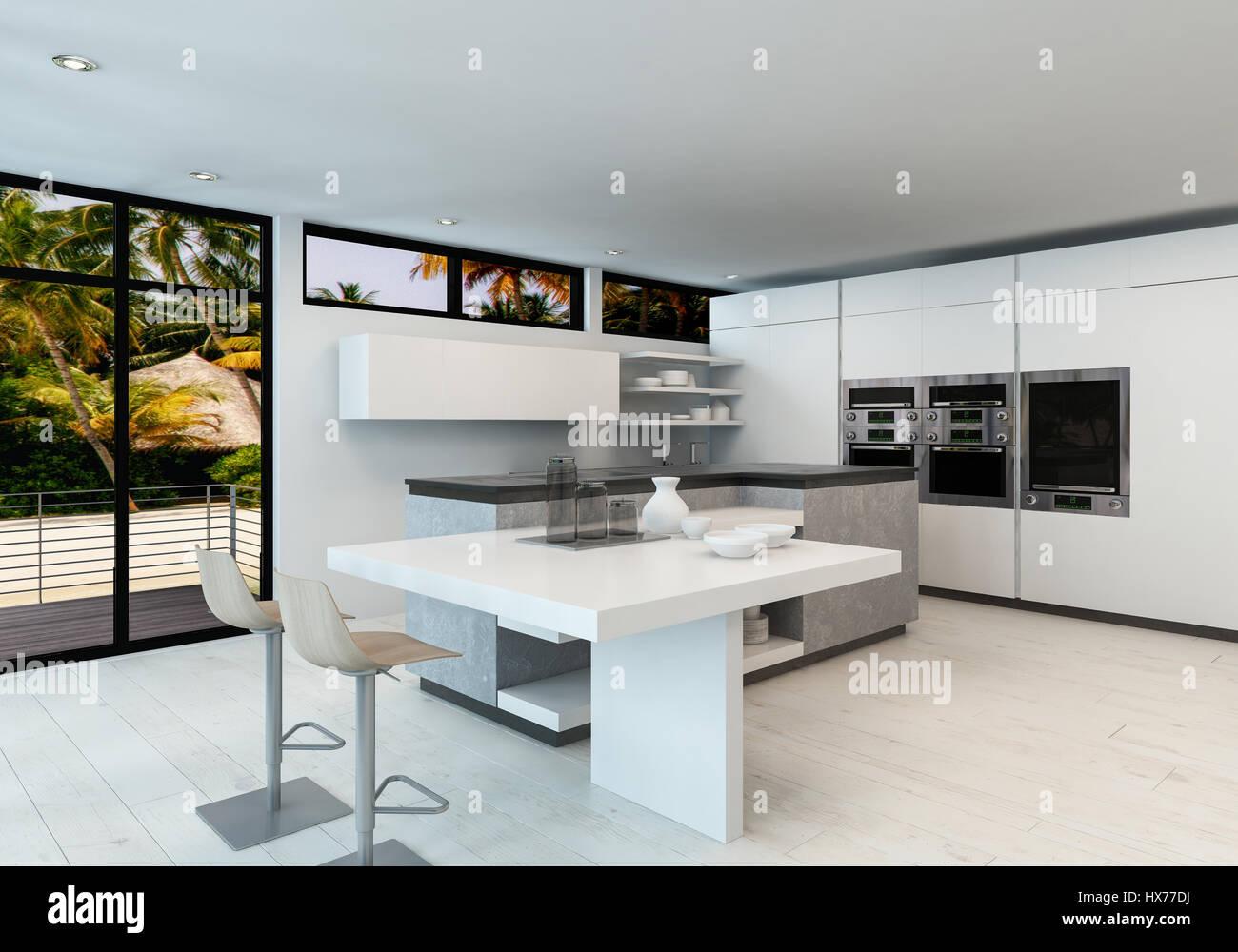 Blanc propre moderne cuisine ouverte avec comptoir bar Bar cuisine ouverte