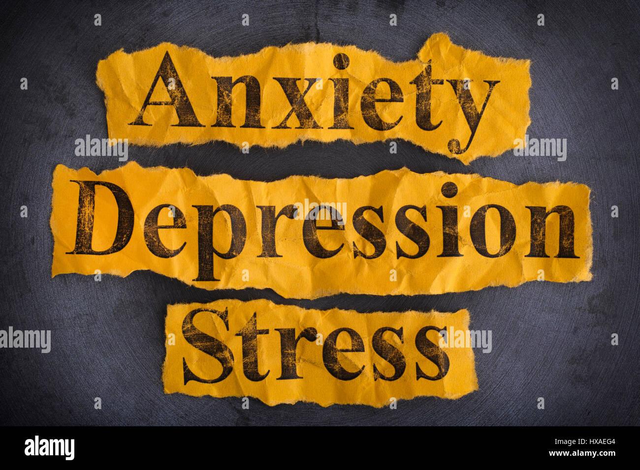 Mots de l'anxiété, la dépression et le stress. Notion de droit. Photo Stock