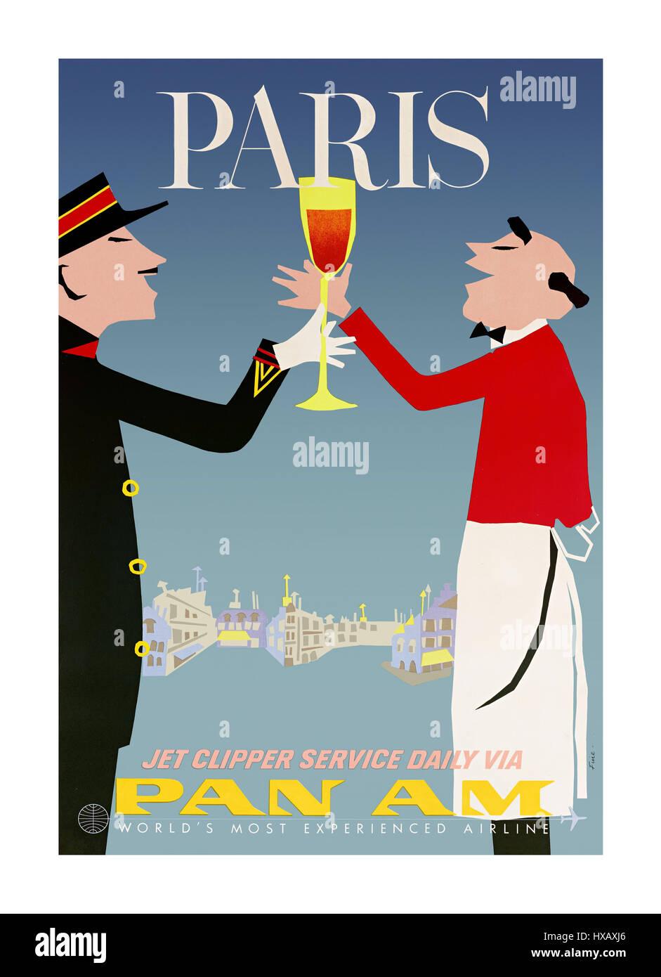 Retro Vintage des années 60, l'affiche de la compagnie aérienne Pan Am Clipper jet promotion voyage Photo Stock