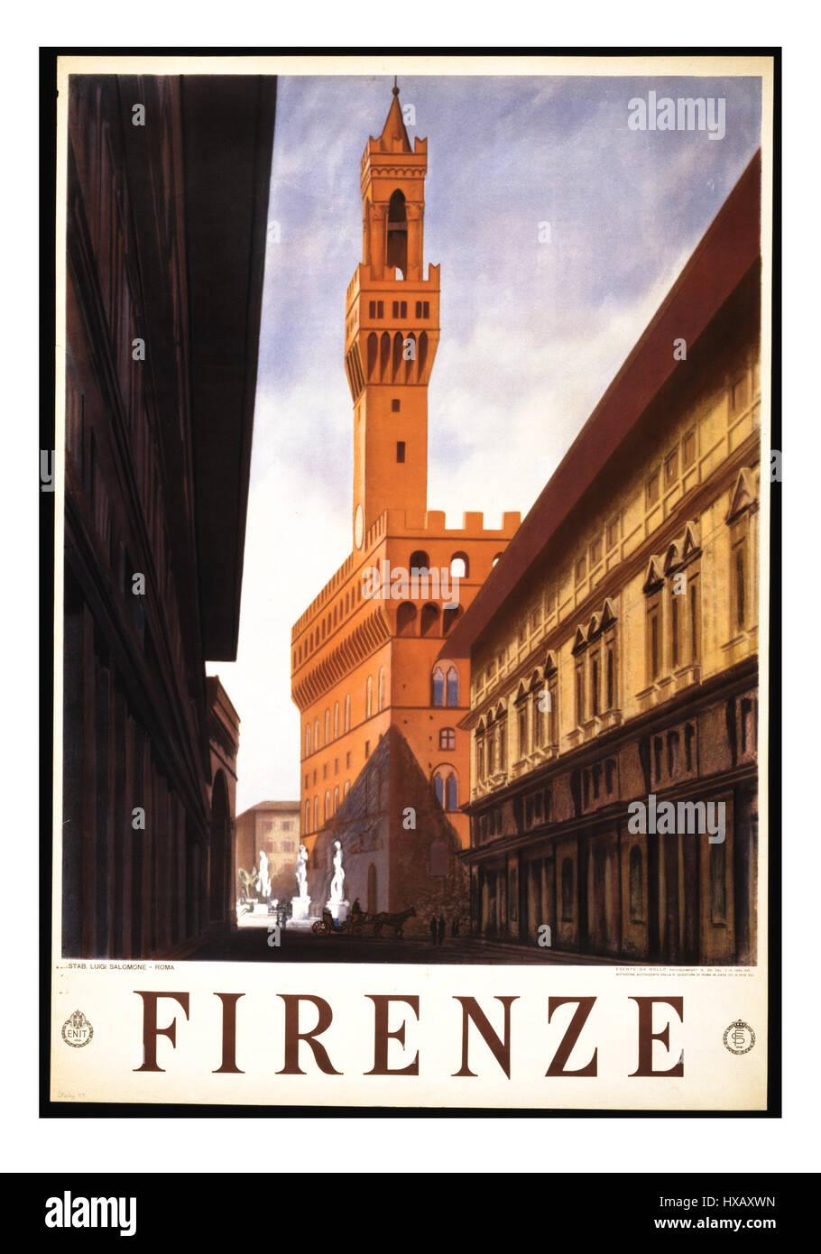 Retro Vintage travel poster pour Firenze Florence avec le Palazzo Vecchio, l'hôtel de ville de Florence Photo Stock