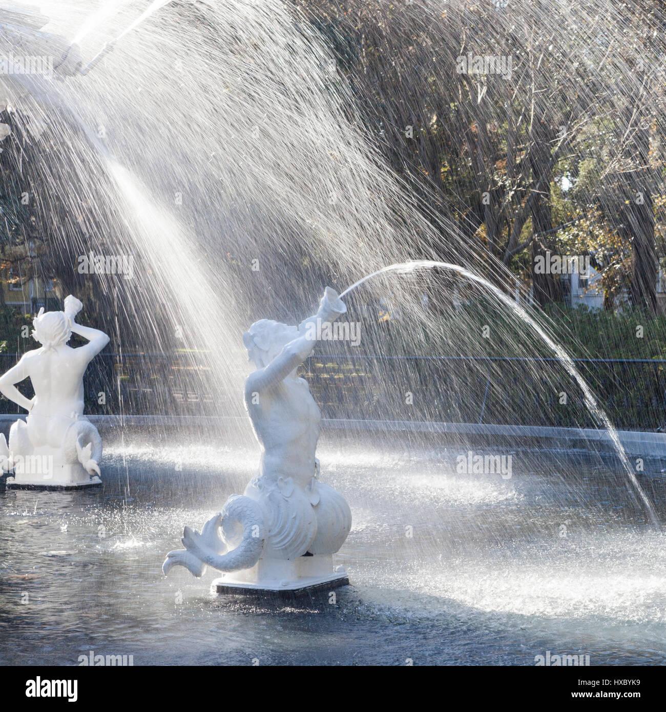 Fontaine, Forsyth Park, Savannah, GA, États-Unis d'Amérique Photo Stock