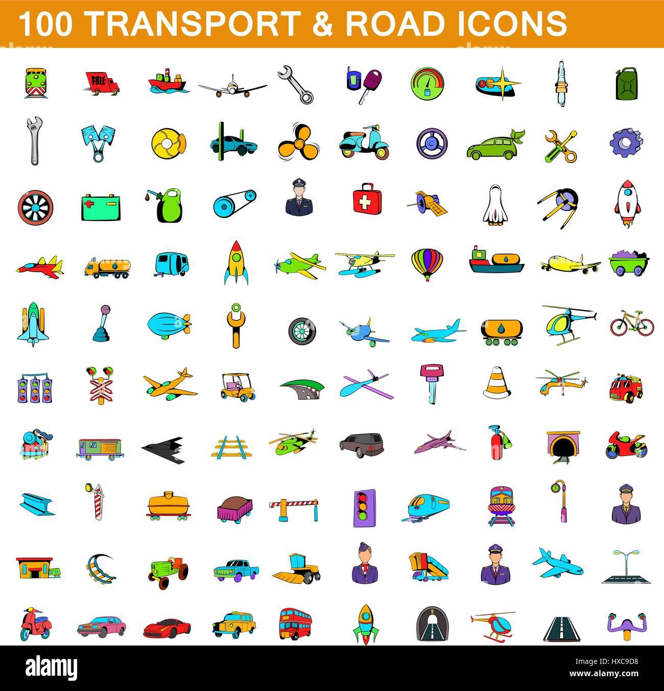 100 icônes de transport, jeu de style cartoon Photo Stock