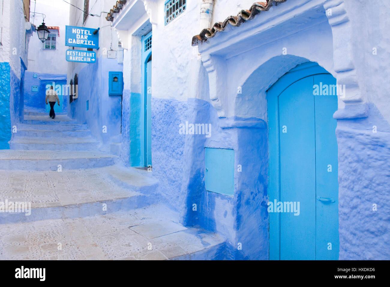 Bleu du Maroc ville de Chefchaouen. Banque D'Images