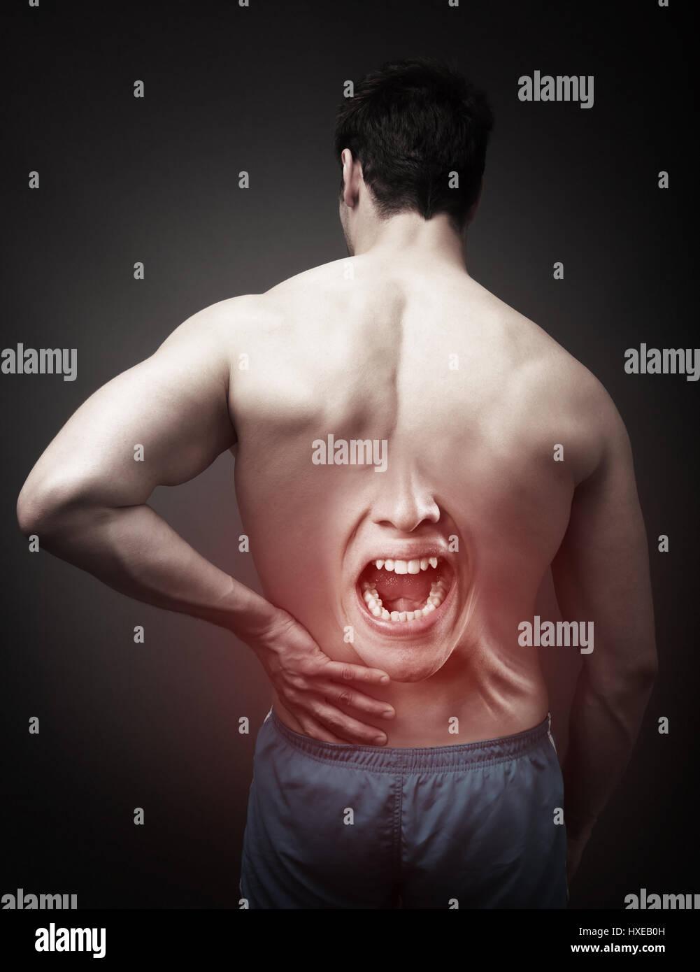 Douleur au concept. Colonne humaine Photo Stock