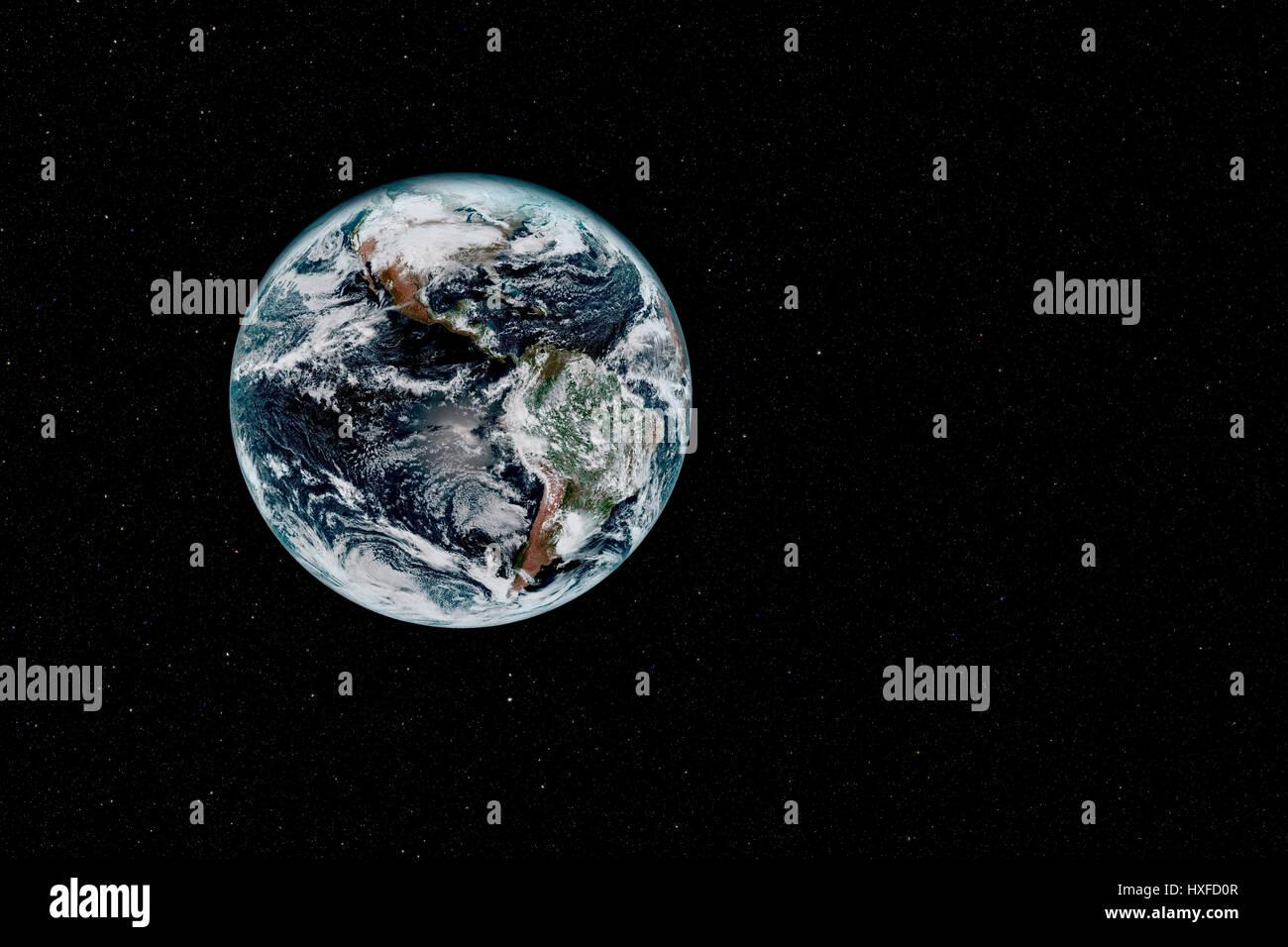 La planète Terre contre Composit Starfield Photo Stock