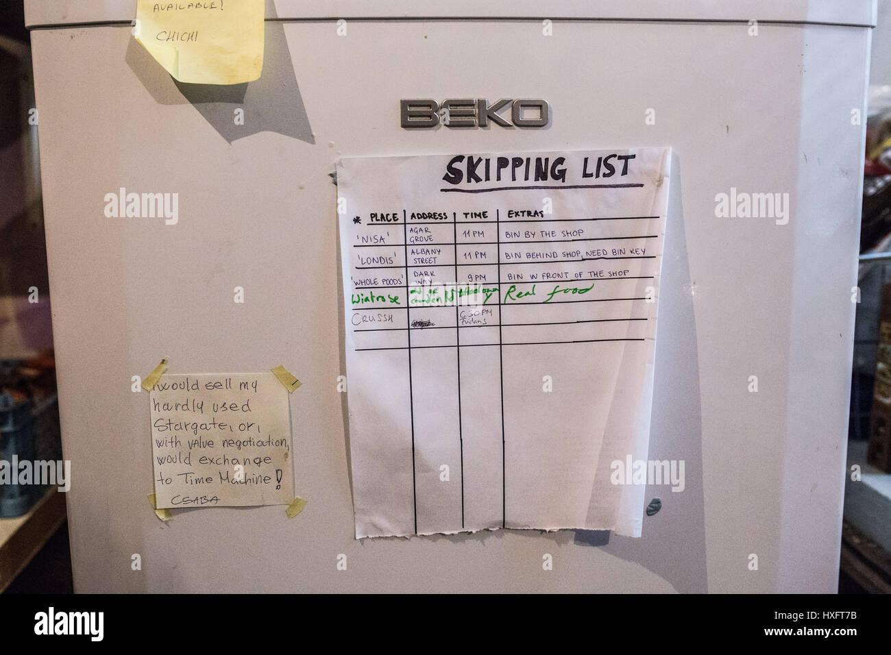'Skipping liste' dans un Londres 'squat' (logements illégaux). Liste saut contient des éléments dont ils ont besoin Banque D'Images