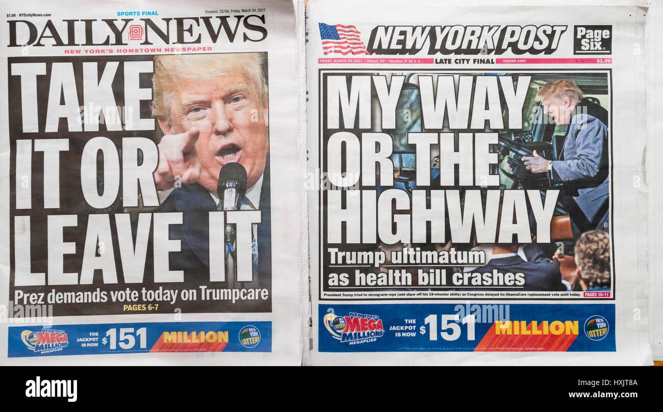 Les titres des journaux de New York le Vendredi, Mars 24, 2017 rapport sur l'ultimatum du Président Donald Trump au Congrès d'adopter le projet de loi de soins de santé, Trumpcare GOP. (© Richard B. Levine) Banque D'Images