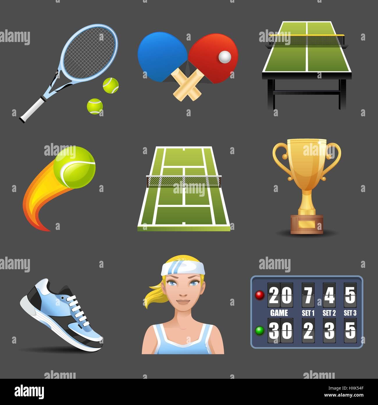 Tennis vector icon set Illustration de Vecteur