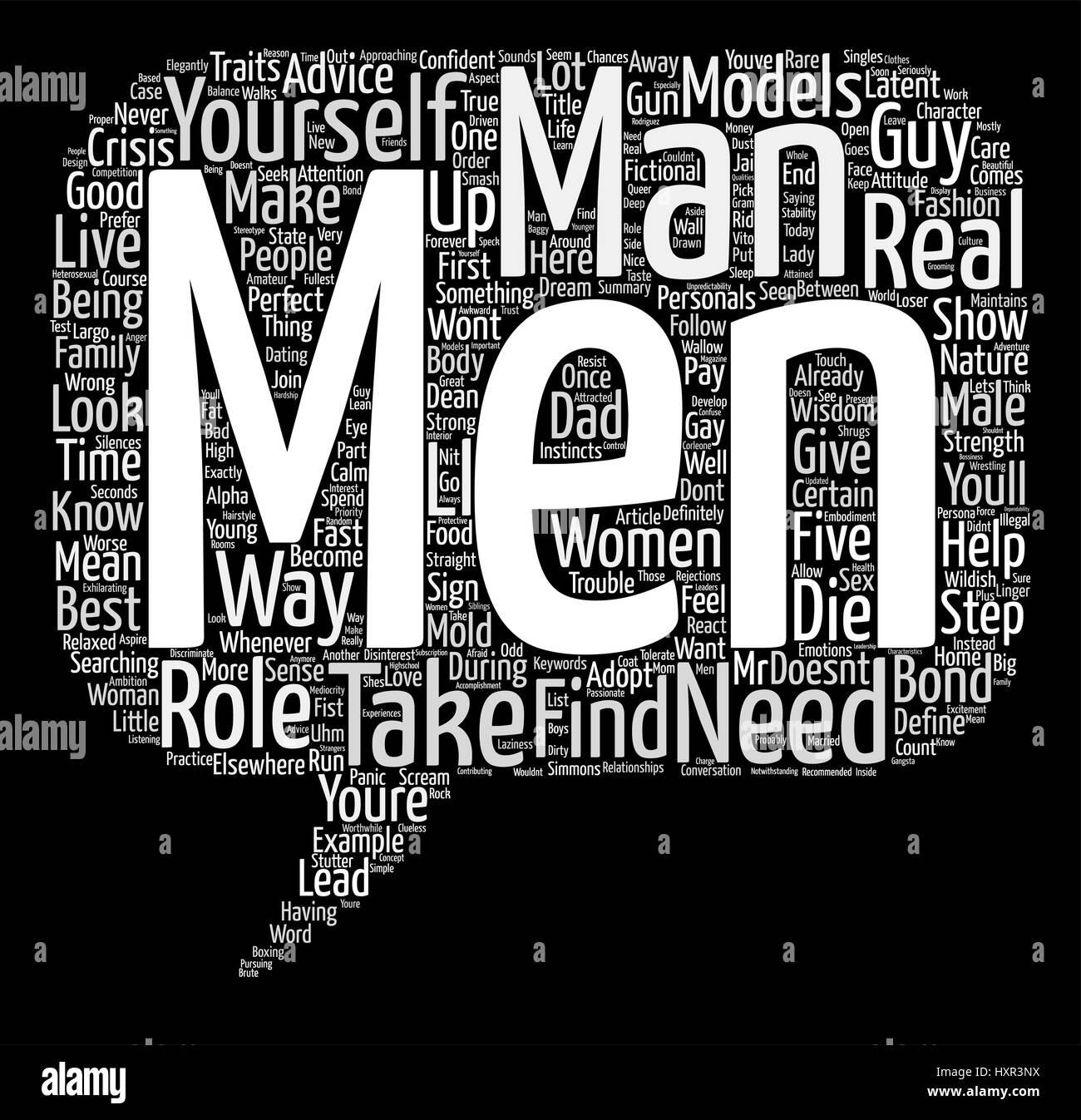 Les modèles masculins qui vous avez besoin et pourquoi vous en avez besoin mot Concept Cloud Background Texte Photo Stock
