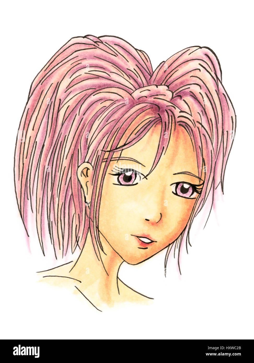 Manga Style On White Paper Drawing Photos Manga Style On