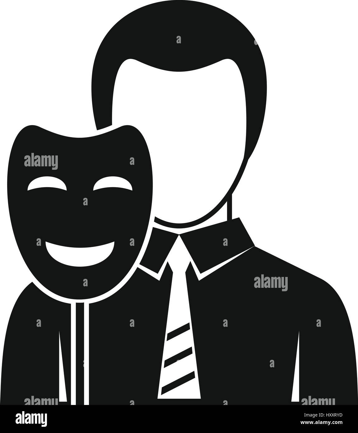 Businessman Holding Sourire Licône De Masque Le Style Simple