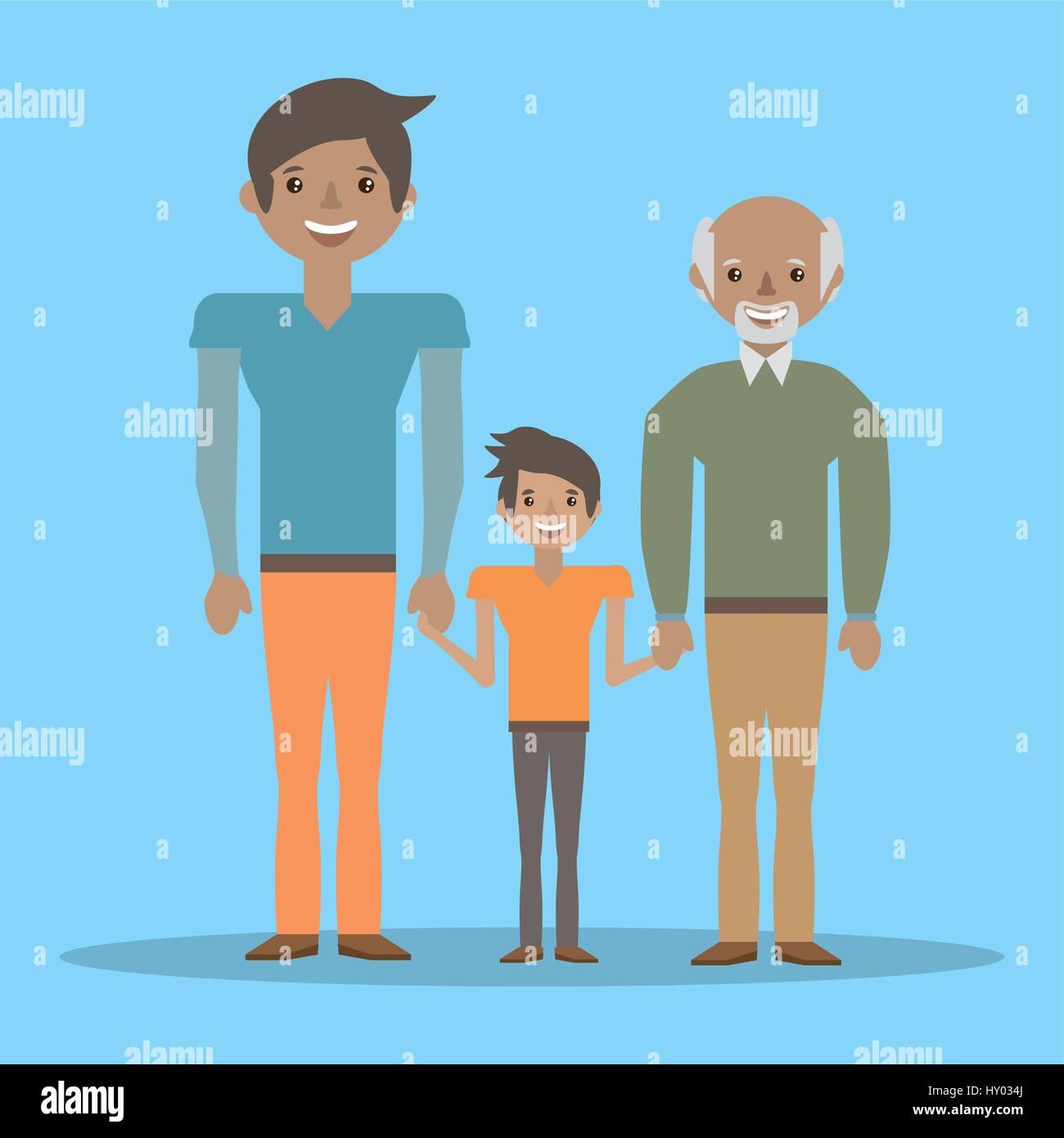 Grand-père de famille belle père et fils Illustration de Vecteur