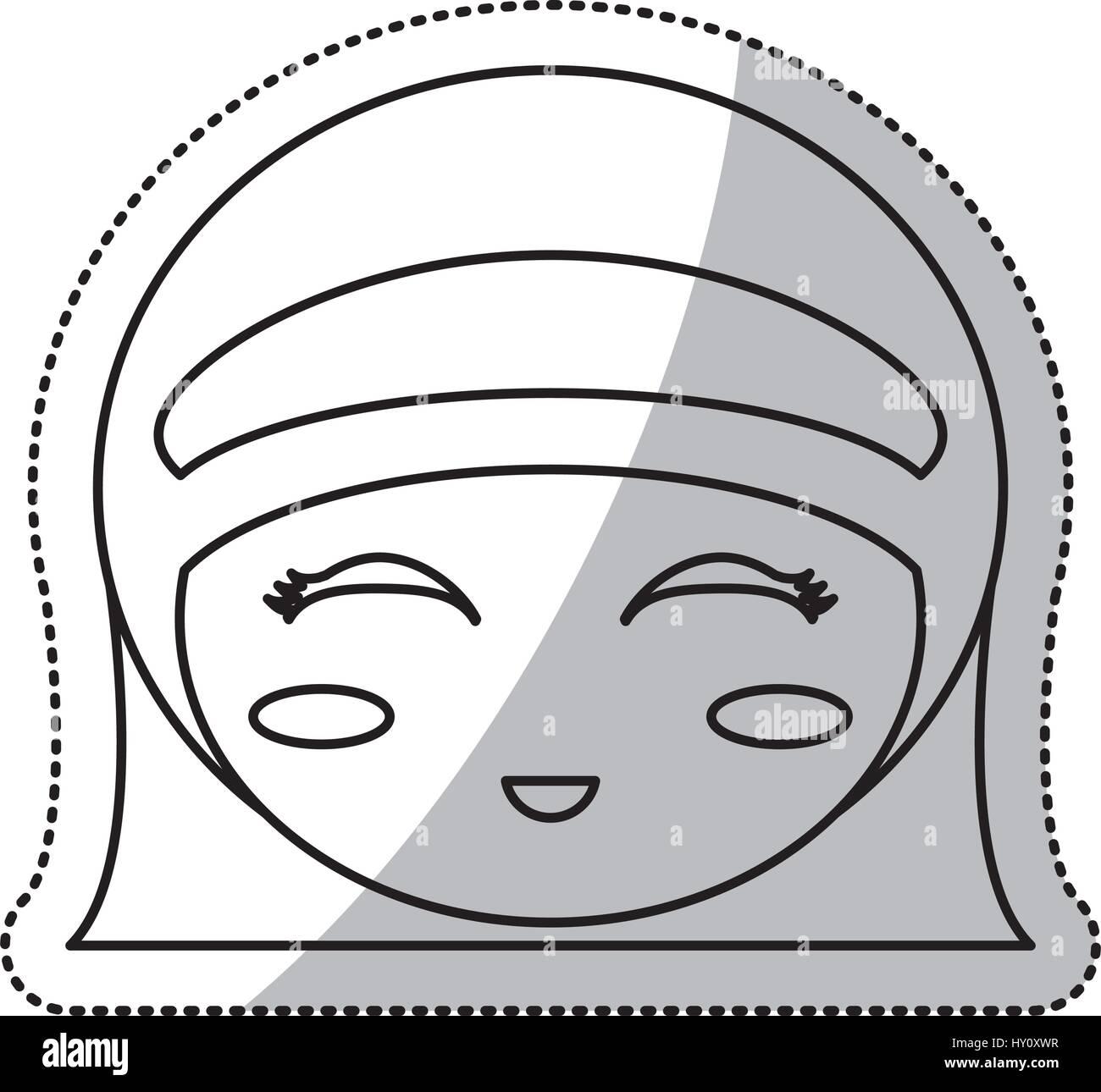 Face à la culture de kokeshi ligne chinois Illustration de Vecteur